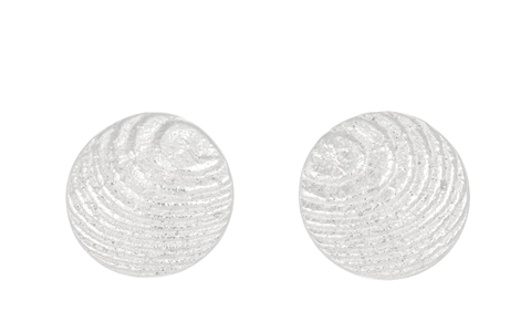 Round Sepia earstuds 11mm, Sterling Silver