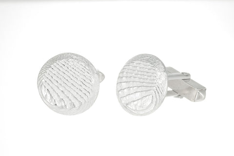 Round Disc Sepia Cufflinks 17mm, Sterling Silver