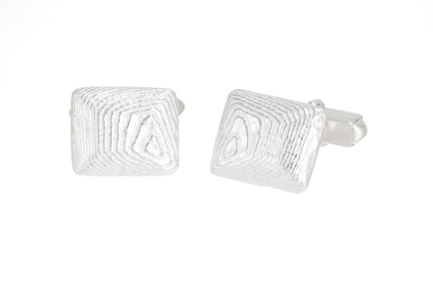 Rectangular Sepia Cufflinks, Sterling Silver