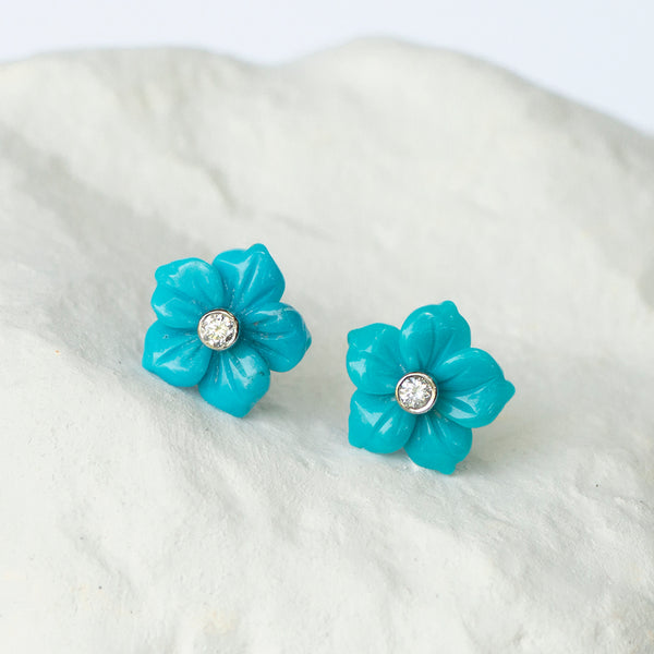 Turquoise Flower earrings white gold and diamond fittings