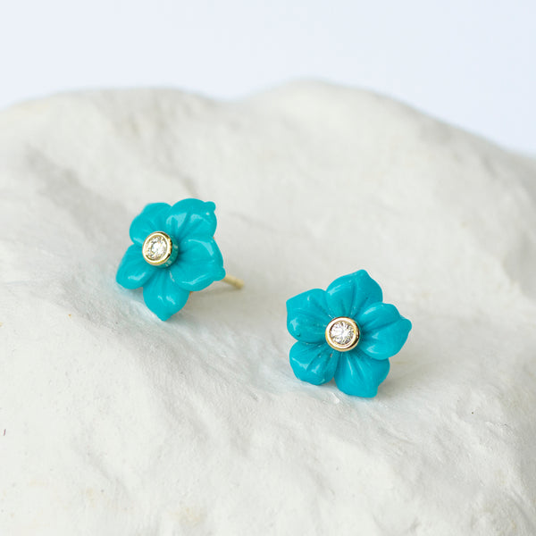Turquoise Flower earrings yellow gold and diamonds