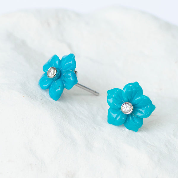 Turquoise Flower earrings wg gold and diamond fittings