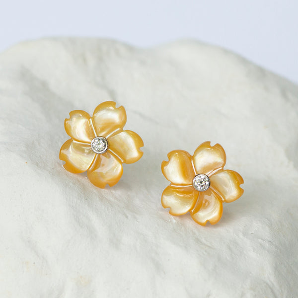 5 petal floral earrings yellow mother of pearl diamonds