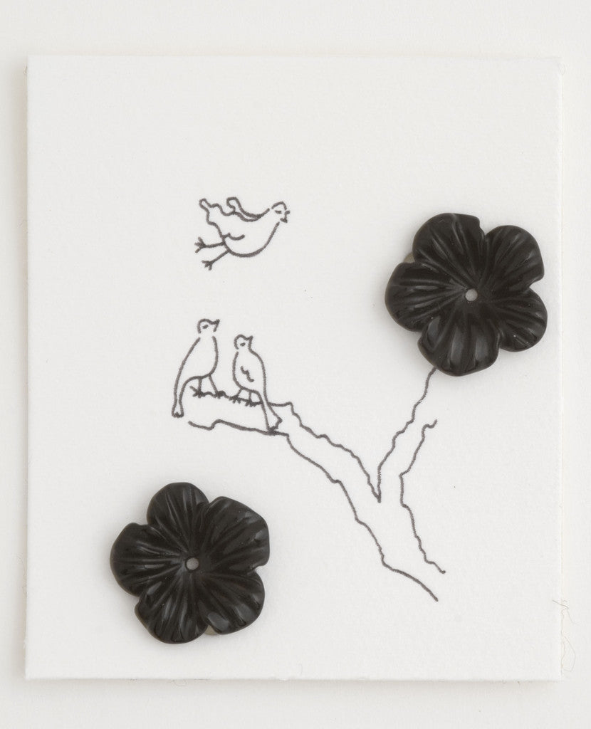 Black Agate Onyx Flower earrings