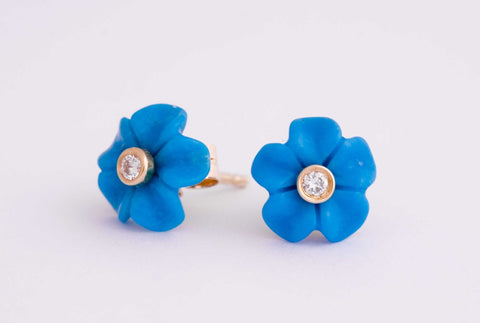 Forget-Me-Not Flower earrings, 10mm, yellow gold and diamond fittings