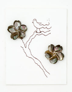 Grey Gray Mother of pearl Flower earrings