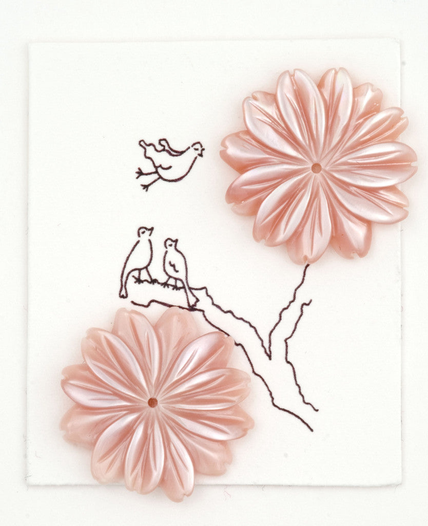 Pink Mother of pearl Flower earrings