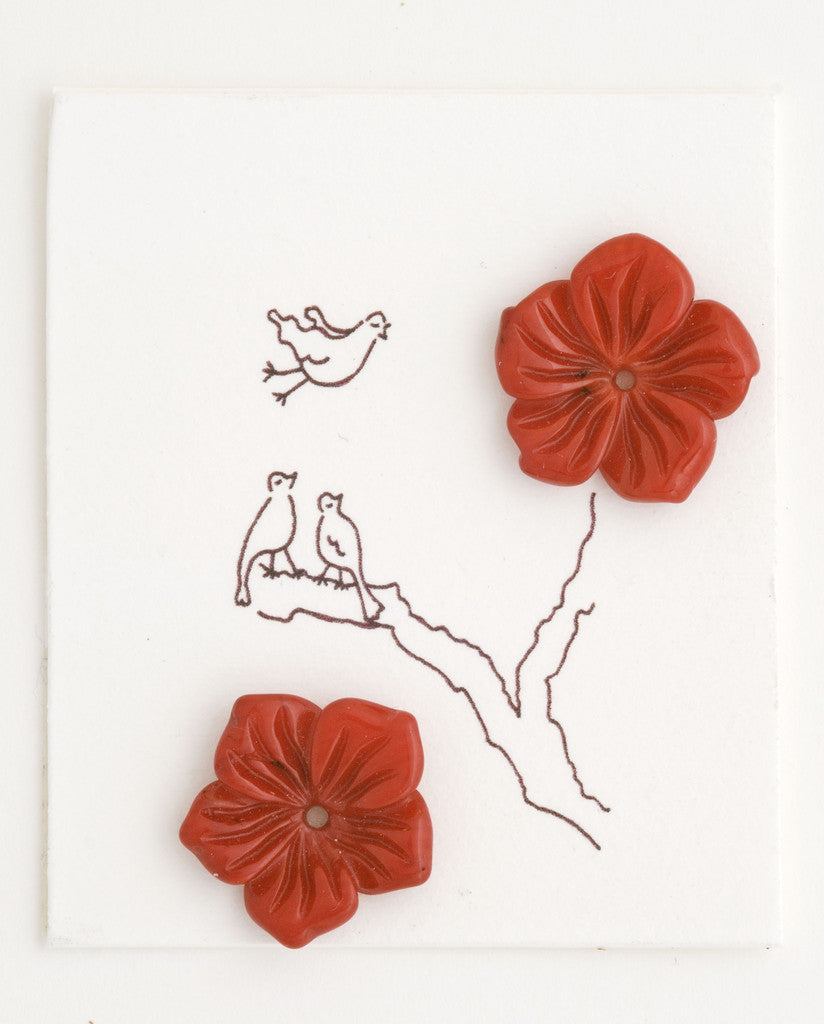 Red dyed Coral Flower earrings