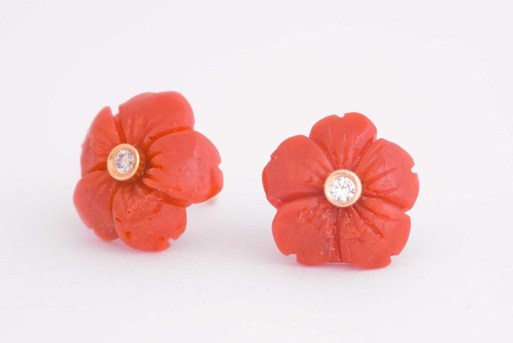 Red Coral Flower earrings