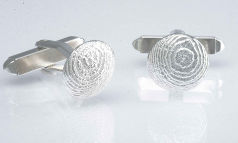 Sepia round Shield Cufflinks Silver large