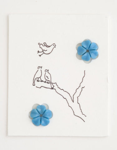 Pair of Turquoise flowers, Forget-me-not, 8mm