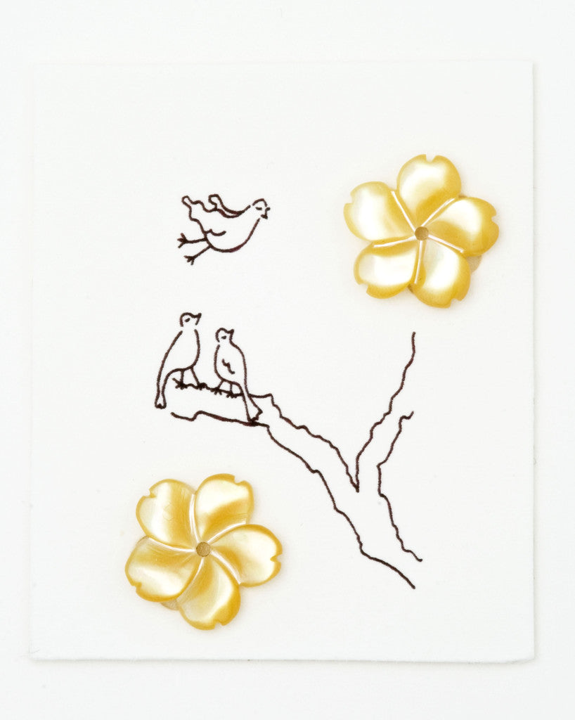 Golden Mother of pearl Flower earrings