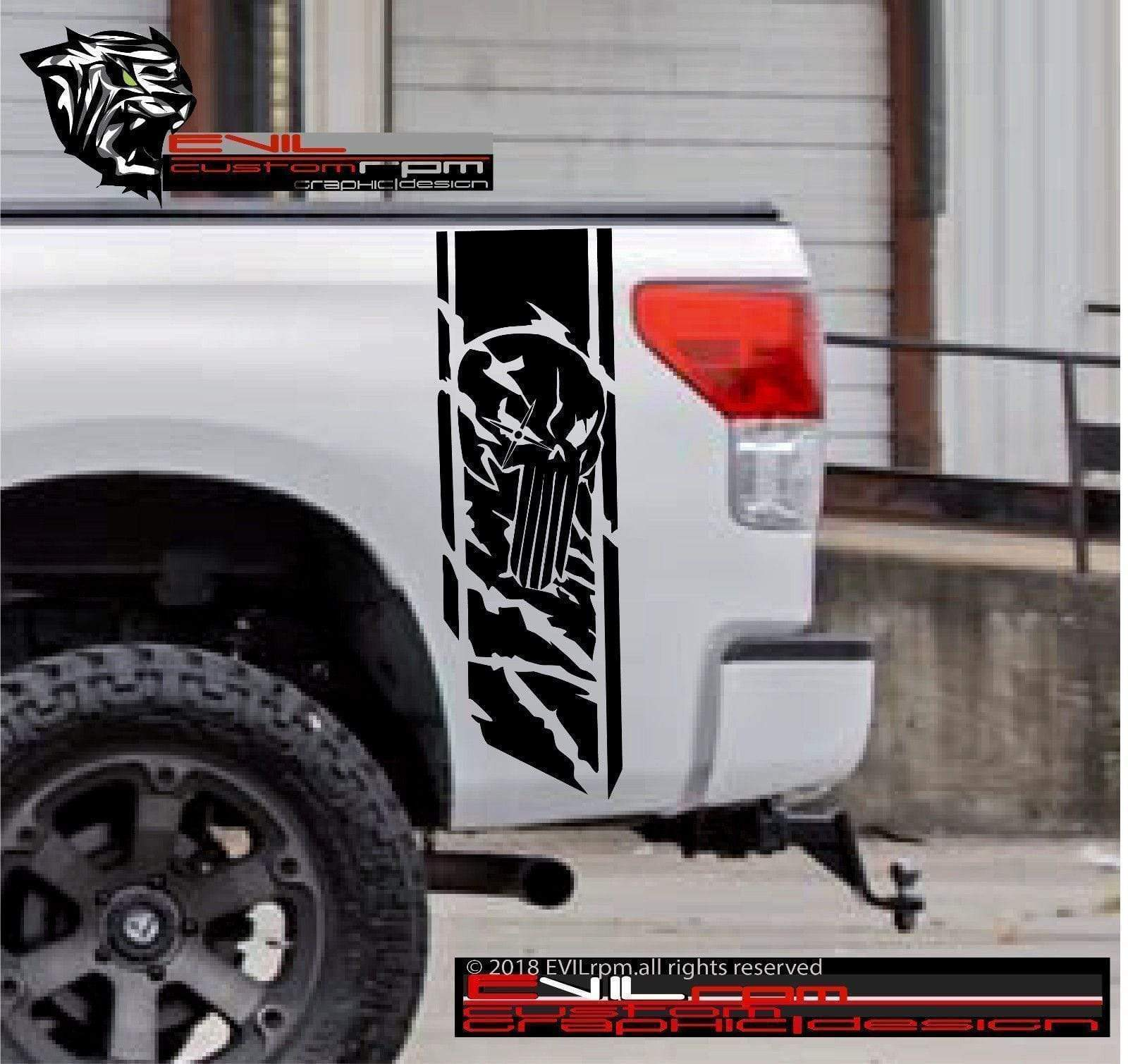 Punisher Side Bed Vinyl Decal Stripes  forToyota Tundra Pickup Truck Evilrpm