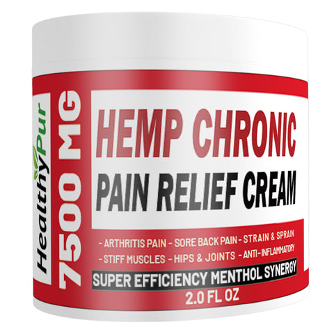 HealthyPur Hemp Cream for Pain Relief 7500 MG Hemp MSM Arnica Menthol Vitamin C,B,E Aloe Ginger Tea Tree Eucalyptus. for Knee Hips Joints Back Hand Foot Muscle Sciatica Chronic Pain Relief