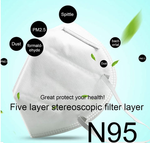 5 Pieces - Face Mask N95 Filters 95% Airborne Particles N95 Mask 4 Layers of Air Filters, Anti-fog, Dust, Pollen, Non Woven Fabrics Unisex KN95 Facial Mask(5 Pieces).