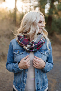 *All Tied Up In You Fall Colors Plaid Infinity Scarf