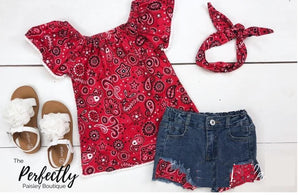 Kids Red Paisley short set