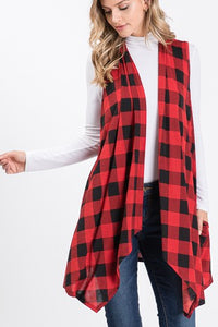 Buffalo Plaid sleeveless duster w/pockets