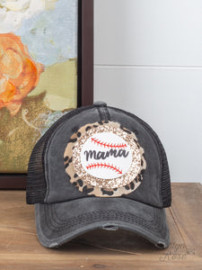 Baseball Mama Glitter Leopard Patch on Black Glitter Bill Hat