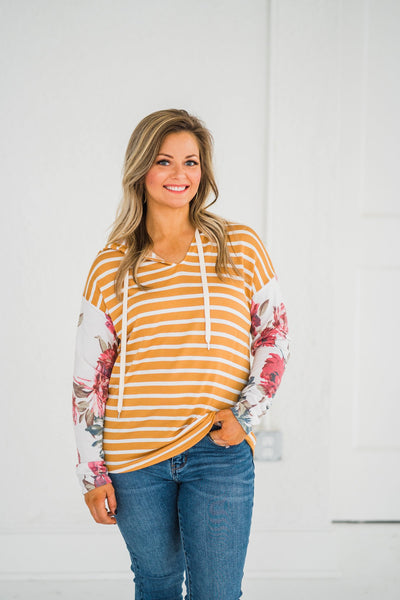 Florals On The Line Mustard Striped Hoodie