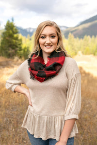 *All Tied Up In You Red & Black Plaid Infinity Scarf