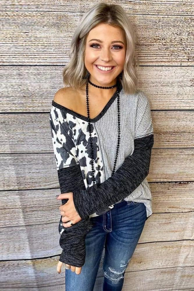 Grey Cow Print top