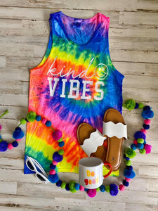 Kind Vibes tie dye graphic tee