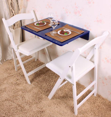SoBuy Folding wall table Kitchen table Small space-saving desk 60 * 40 CM, Blue in wood, FWT03-B