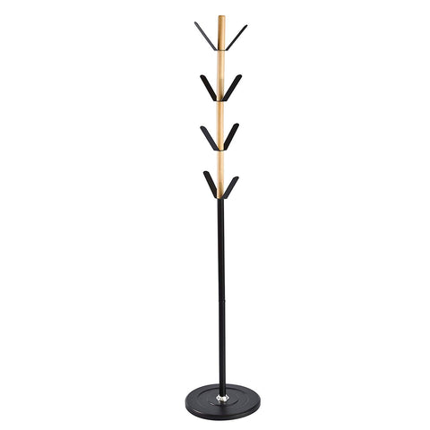 SoBuy Design coat stand, Ingress coat rack, in iron and beech wood, FRG184