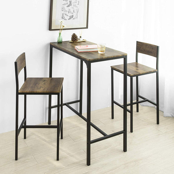SoBuy Set 3 Pieces Table with 2 stools High Bar Cabinet for home Vintage Style, W89 * D45 cm, Height 100 cm, OGT03-XL