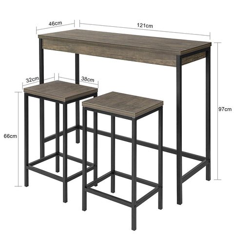 SoBuy Kitchen Table with 2 stools Kitchen Peninsula W121 * D46 * H97 cm OGT30-N