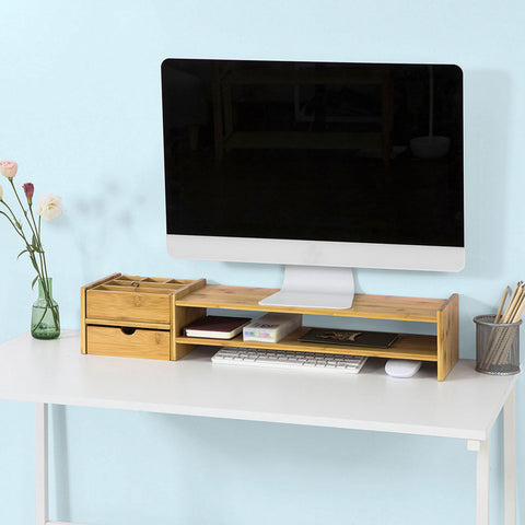 SoBuy pc monitor stand desk Organizer desk monitor stand With 2 drawers BBF01-N