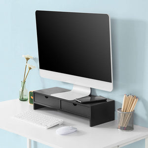 SoBuy pc monitor stand desk Organizer desk monitor stand black With 2 drawers BBF02-SCH