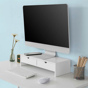 SoBuy pc monitor stand desk Organizer desk monitor stand white With 2 drawers BBF02-W