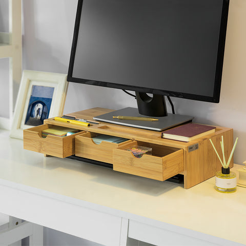 SoBuy Desktop PC Monitor Stand with 3 Drawer Organizer W51 * D25 * H12cm, solid bamboo wood BBF03-