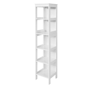 SoBuy Space Saving Bathroom Cabinet Ladder Shelf with 5 Shelves Length 30 depth 30 Height 139 cm, White BZR14-