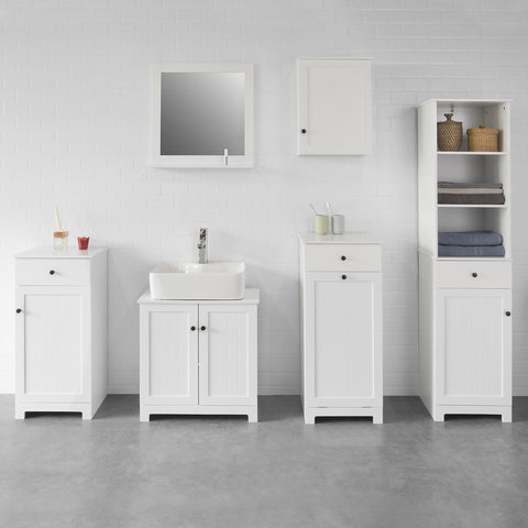 SoBuy Bathroom linen cabinet with drawer and dirty laundry basket W40 * D38 * H90cm, white, BZR21-W