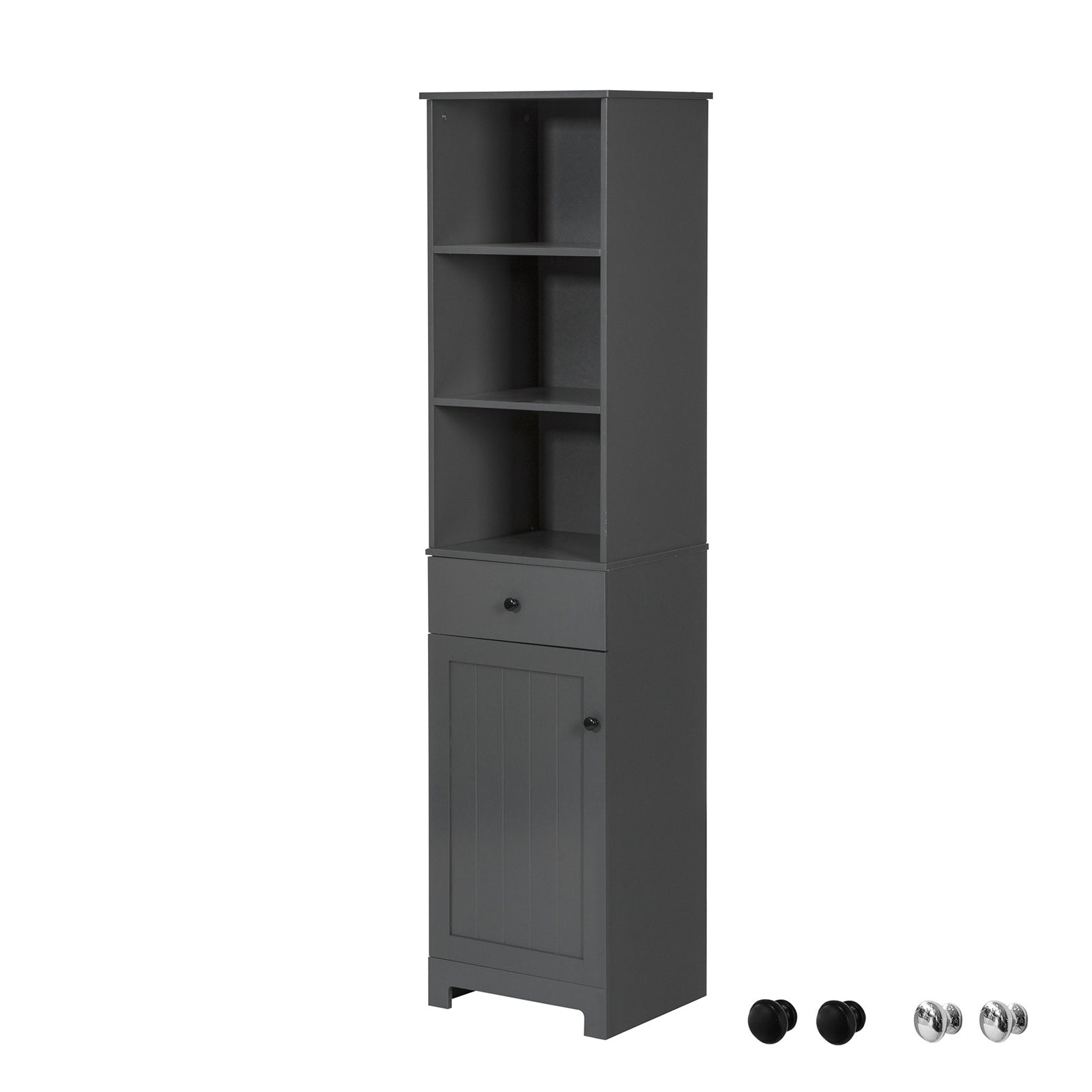 SoBuy Tall Cabinet Space Saving Bathroom with Drawer and Cabinet, Industrial Style, BZR17-DG
