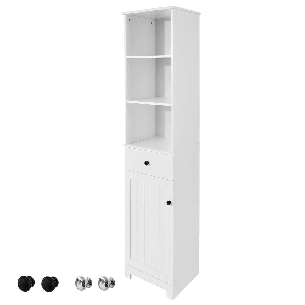 SoBuy Tall Column Bathroom Bath Saver with drawer and cabinet L40 * P35 * H161 cm BZR17-W