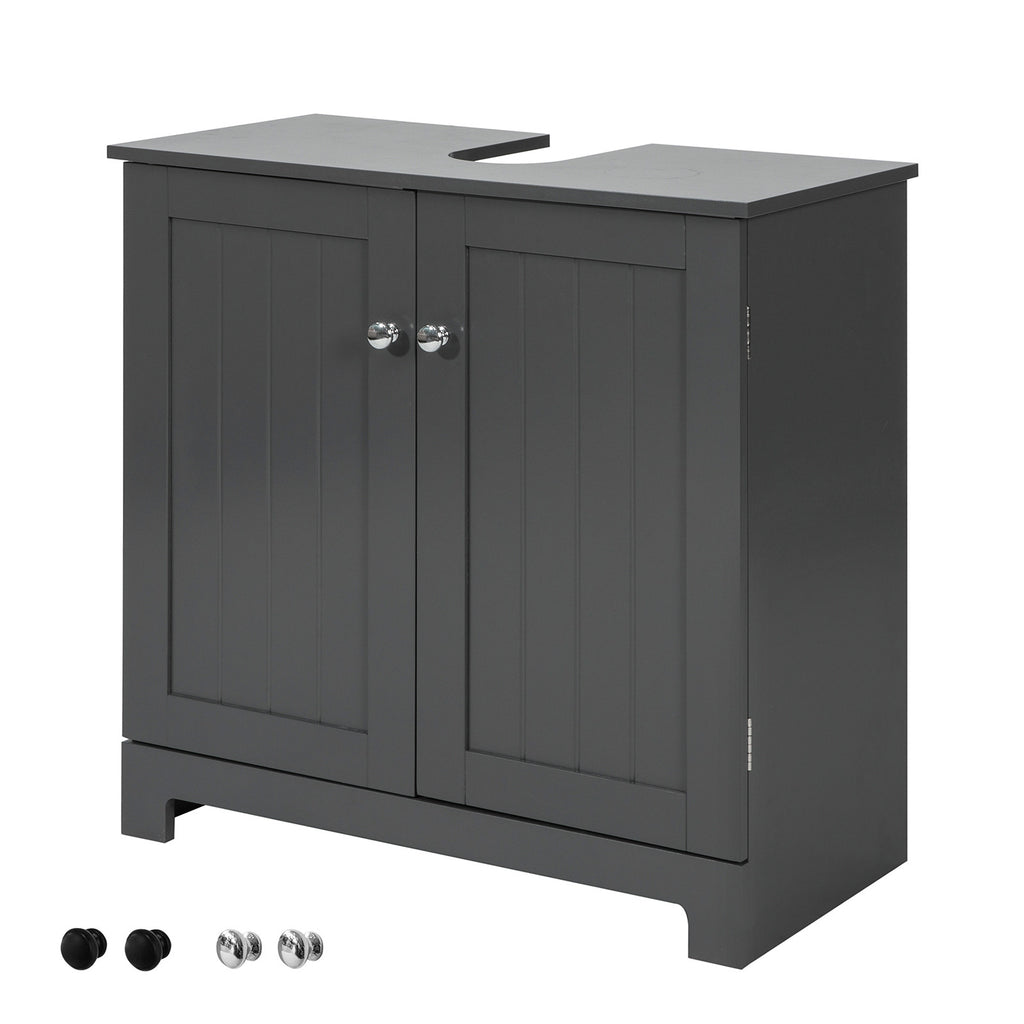 SoBuy Vanity Cabinet for Bathroom with 2 Doors Bathroom Furniture W60 * D30 * H60 cm, Gray, BZR18-DG