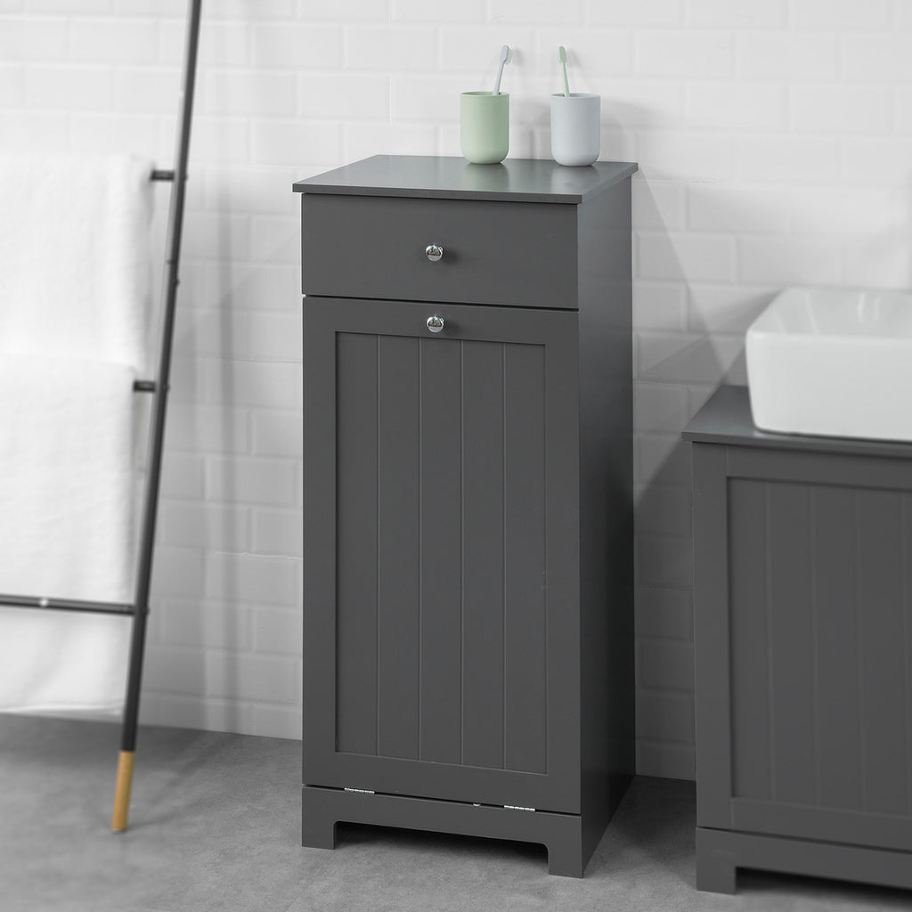 SoBuy Laundry Cabinet for Bathroom with Drawer and Dirty Laundry Basket, Industrial Style, BZR21-DG