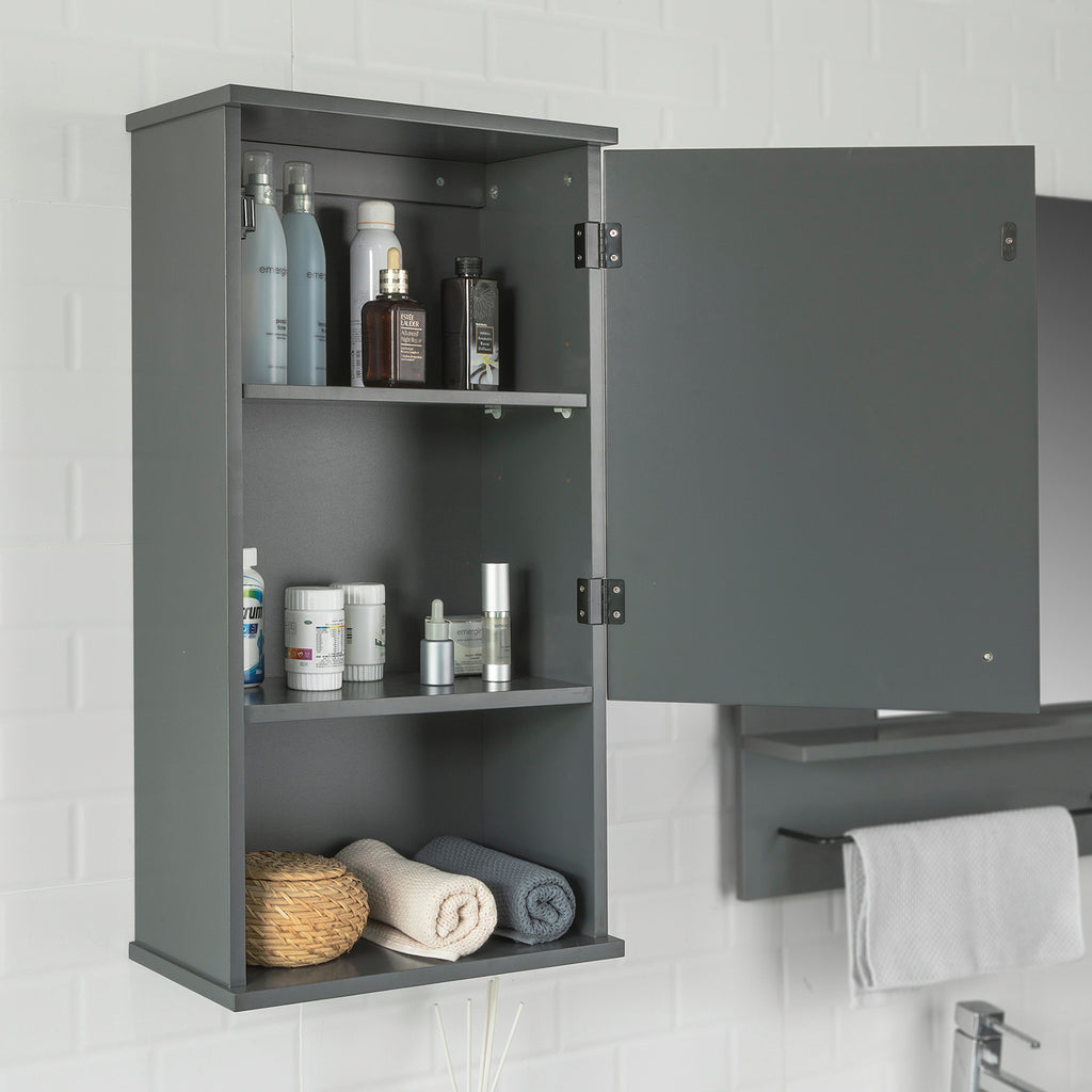 SoBuy Suspended bathroom wall cabinet W40 * D21 * H76 cm Gray Industrial Style BZR25-DG