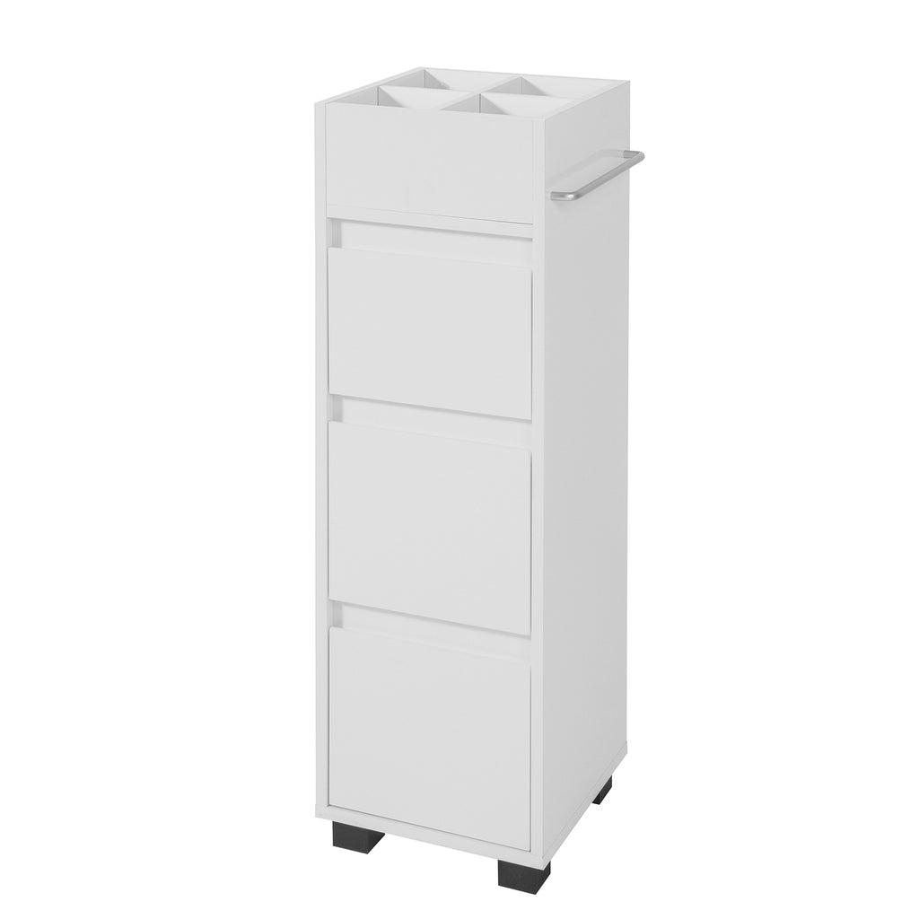 SoBuy Space-saving bathroom cabinet with wheels, 3 drawers and 4 compartments to organize White BZR29-W