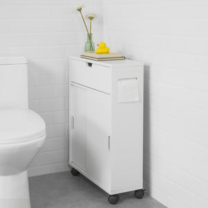 SoBuy Space-saving trolley Roll holder and toilet brush holder with wheels white W17 * D52 * H67 cm BZR31-W