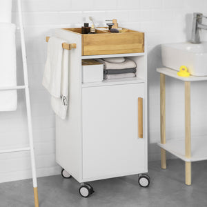 SoBuy Space-saving Bathroom Cabinet with Wheels and Make-up Holder, White, BZR32-W