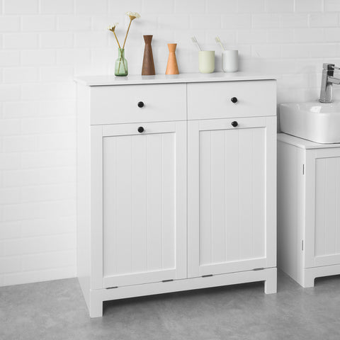 SoBuy Bathroom cabinet with laundry basket with 2 laundry baskets and 2 drawers White BZR33-W