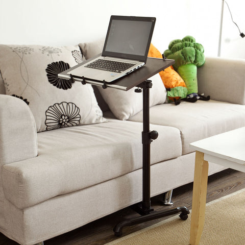 SoBuy Coffee Table With Casters Bed Table Brown Adjustable Coffee Table With Route Fbt07N-Br