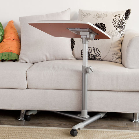 SoBuy Coffee Table With Casters Bed Table Adjustable White Coffee Table With Route Fbt07N2-W