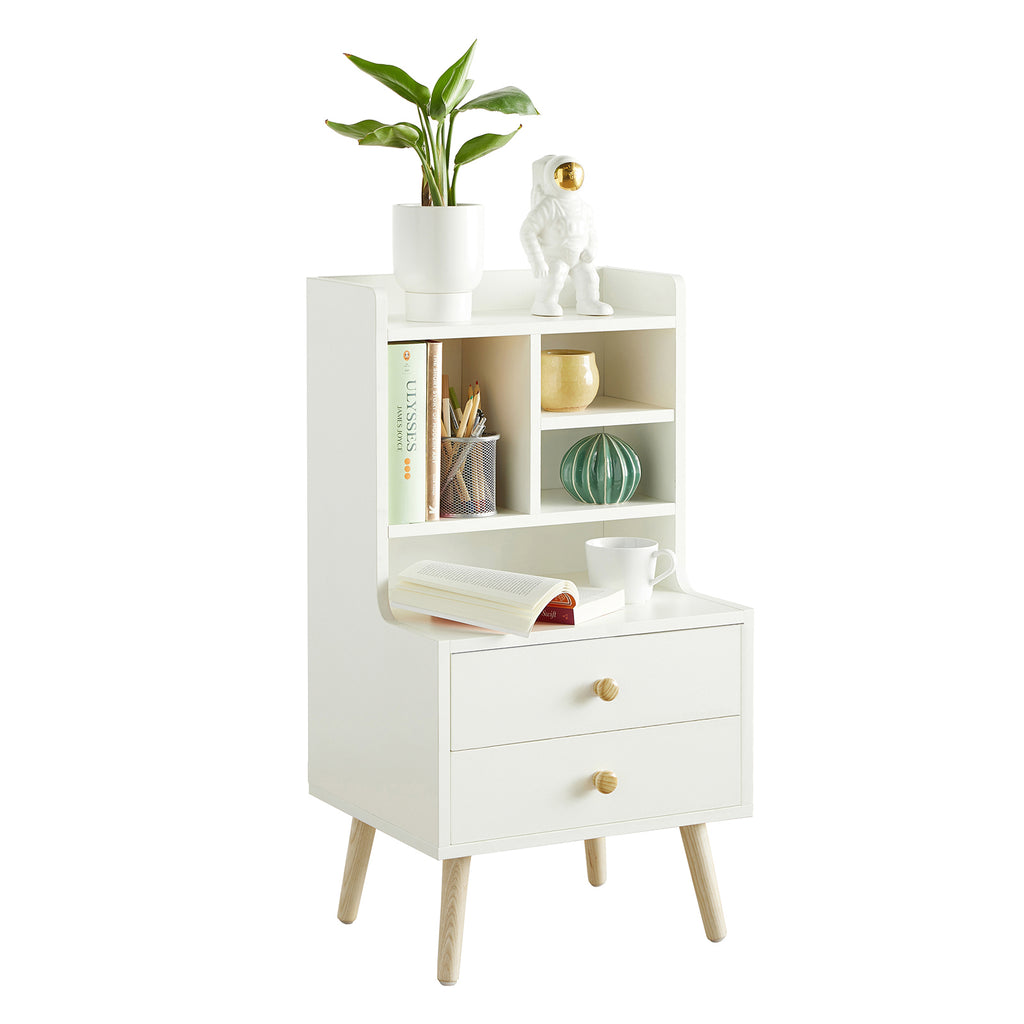 SoBuy Bedside Bedroom Chest of Drawers Bedside White Bedside Tables with 2 Drawers and 3 Shelves FBT100-W