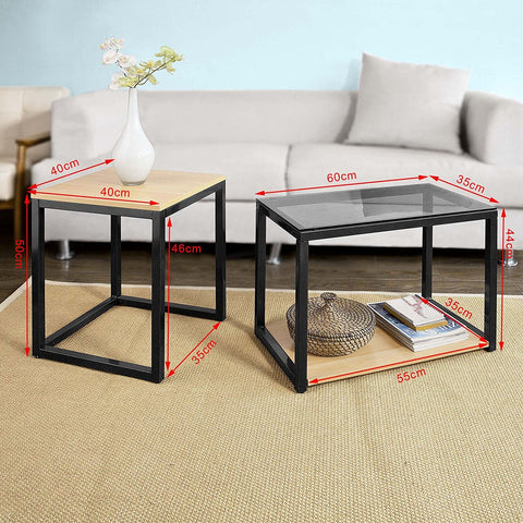 SoBuy Coffee Table Sofa Coffee Table Living Room Low Coffee Table Black 2 Pieces Fbt35-Sch